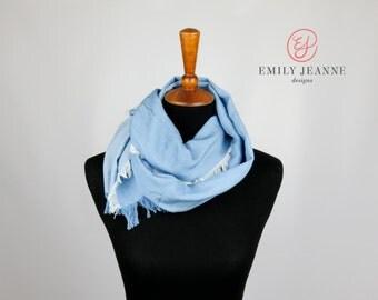 Super Soft Light Wash Blue Chambray Denim Fashion Scarf with Hand Fringed Edges