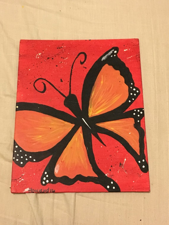Butterfly painting on 8 by 10 inch flat canvas