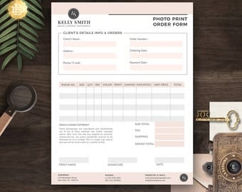 Print Order Template for Photographer, Photography Print Order Form in MS Word and Adobe Photoshop - INSTANT DOWNLOAD - PPO003