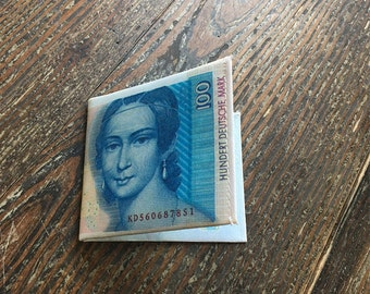 Slim Coated Canvas German 100 Deutshe Mark Wallet - Womens Wallet / Mens Wallet / Minimalist Wallet / Unisex Wallet / Unique Gift