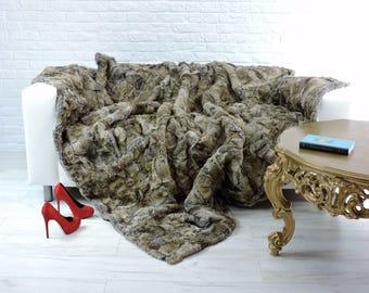 Luxury genuine rabbit fur throw, blanket, natural colour, 195cm x 185cm, i852