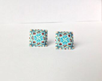 Polymer clay earrings - Stud Earrings - Geometric earrings - Turquoise earrings - Modern jewelry -Minimalist earrings-Contemporary earrings