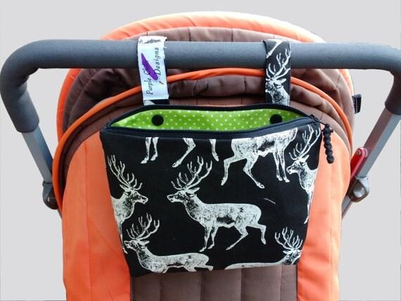 Pram caddy / pram organiser / mini wet bag / Makeup Bag - charcoal/white deers