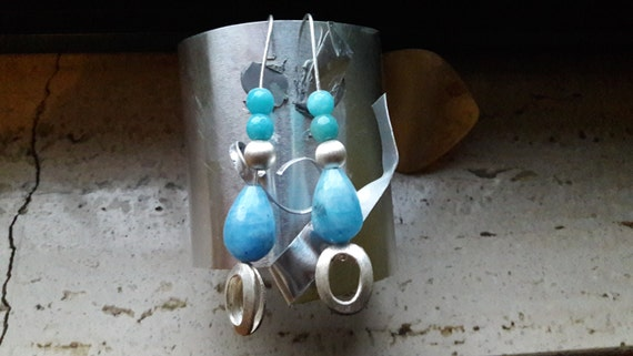 Silver earrings  with chalcedony agate