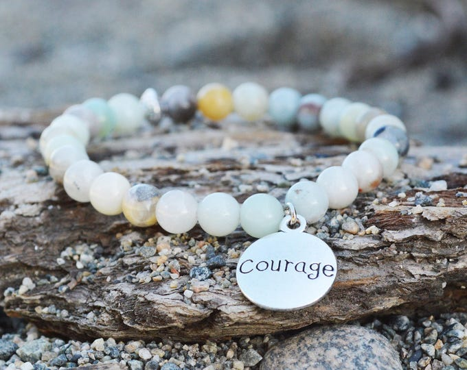 Natural amazonite stone bracelet - strength bracelet