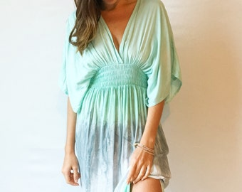 SALE - Mint marble beach cover-up, dress, kaftan