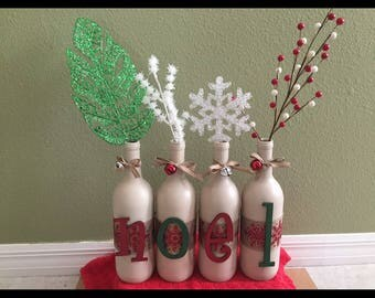 NOEL Christmas/holiday wine bottle set with jingle bells