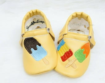 Lollypop Moccs, Baby Moccs, Baby Moccasins, Yellow moccs, Fringe moccs, Icecream Moccs, Ice Lollypop Moccs.