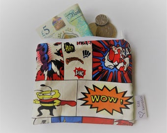 Comic strip coin purse/pouch, cotton, fully lined, unusual fun material, a lovely gift!