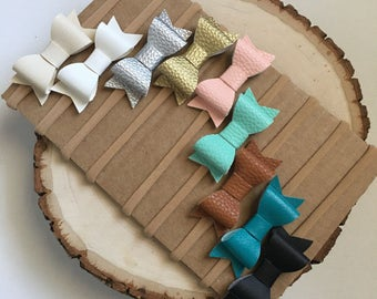 Mini faux leather bow Baby Headbands Faux Leather Bows Nylon Headbands Baby Bows Baby Headbands Set Mini bows leather bows nylon headbands