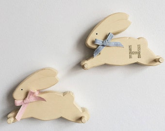 Wooden easter bunny etsy personalised wooden bunny peg new baby gift bunny peg hook nursery decor negle Images