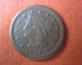 1851 One Cent Coronet Braided Hair Variation Large Cent.