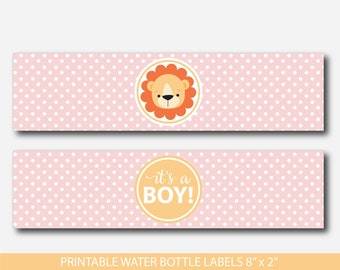 Safari water bottle labels, Lion water bottle labels, Jungle water bottle labels, Safari baby shower water labels, Lion drink labels, BS2-18