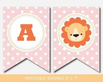 Safari banner, Lion banner, Jungle banner, Lion garland, Safari garland, Jungle garland, Safari pennant, Baby lion banner, BS2-19