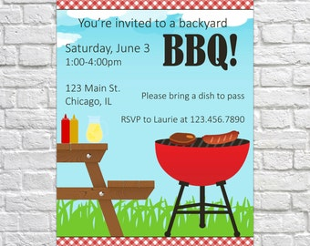 Printable Summer BBQ Invitation, Backyard BBQ Invitation, PRINTABLE Barbecue Invitation, Summer Invitation, Summer Invite, Barbecue Invite