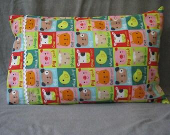 Colorful barnyard animals cats, cows, dogs, chicks cotton handmade kids pillowcase