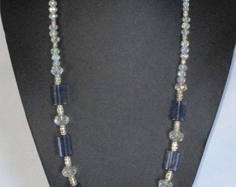 Chunky blue and silver necklace
