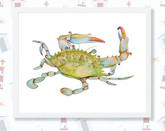 Blue Crab Watercolor Painting Crab Art Print Nursery Wall Art Ocean Decor Crab Printable Instant Download Sea Coastal Nautical Beach Digital