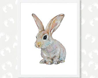 Bunny Print Baby Animal Print Bunny Nursery Art Bunny Painting Bunny Watercolor Rabbit Art Rabbit Print  Woodland Animal Download Printable