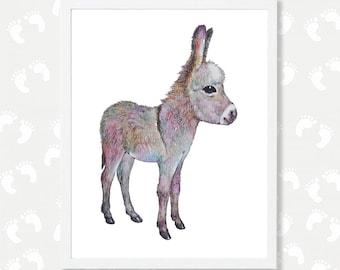 Baby Donkey Print Digital Download Art Donkey Watercolor Painting Baby Farm Animal Print Printable Nursery Art Instant Digital Download