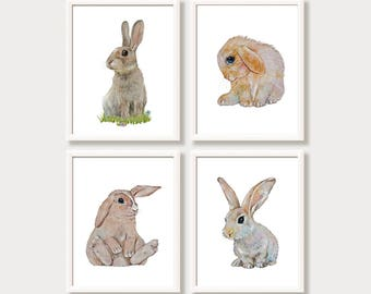 Nursery Prints Easter Bunny Rabbits Bunny Art Bunny Watercolor Paintings Bunnies Set of 4 Prints Nursery Wall Art Baby Animals Art for Kids