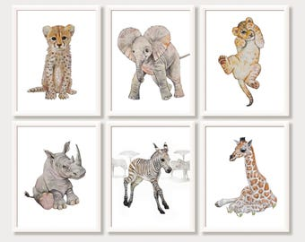 Safari Nursery Decor Animal Prints for Nursery African Baby Animal Prints Watercolor Printable Nursery Wall Art Zoo Animals Digital Download