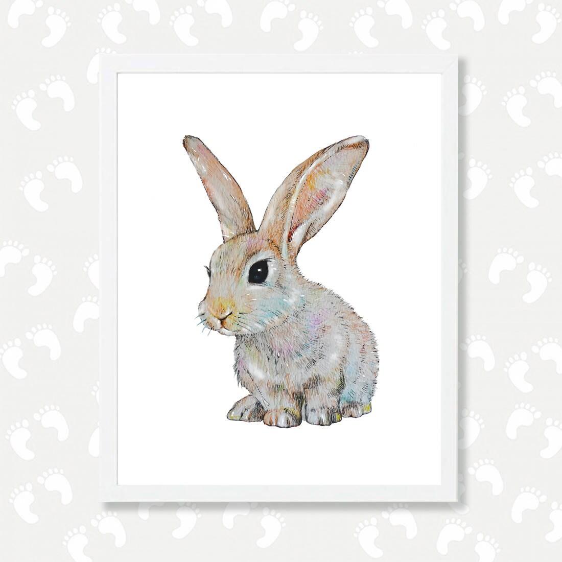 bunny print baby animal print bunny nursery art bunny painting