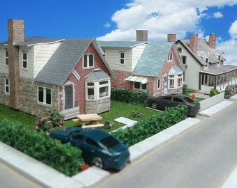 Paper House N or Z Scale Card Model Houses - For Diorama or Model Train Layout