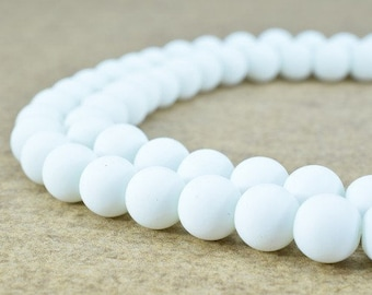 Glass Beads Matte White Rubber Over Glass Size 8mm/10mm Round For Jewelry Making Item#789222045432