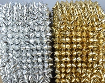 Spike Mesh Roll Trim 5 yard Silver Or Gold Color Roll for Costumes and Wedding, Tables, Decorations, Cakes, Jewelry Making