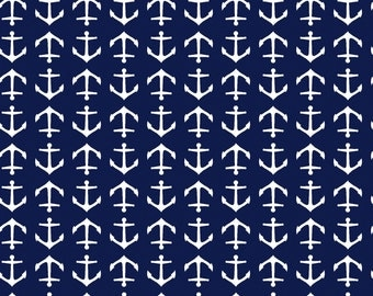 Oh Say Can You Sea in Drop Anchor NAVY by Jack and Lulu for Dear Stella- 1/2 Yard