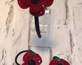 Glitter poppy headband, poppy accessories, rememberance day, royal british legion, poppy hair accessories