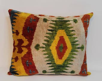 İkat Velvet Pillow Cover, 14'' x 17'' , Decorative Pillow, Handmade Silk Pillow, İkat Lumbar Pillow,  Shipping with Fedex 1-3 days