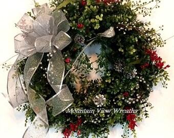 Evergreen Wreath, Faux Evergreen Wreath, Christmas Wreath, Holiday Wreath, Winter Wreath, Silver Bow Wreath, Silver Bird Wreath,