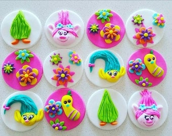 12 x  trolls inspired floral bright party fondant Cupcake Toppers