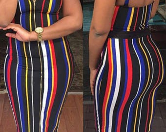 Multi -Striped Zip Up Dress