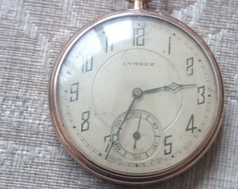 Gold Plated vintage Open Faced Pocket Watch by Cymrex