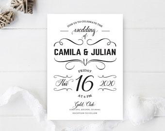 Simple wedding invitations printed / Black and white wedding invites / Elegant calligraphy wedding invitations / Vintage wedding