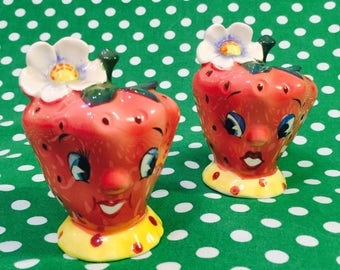 PY Coronet Anthropomorphic Strawberry Couple with Flowers Salt and Pepper Shakers  from Japan circa 1950s