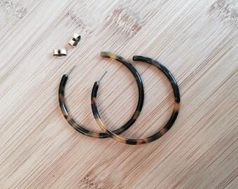 Tortoise Hoop Earrings Large Open Hoop HANDMADE