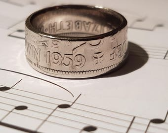 Coin Ring Half Crown  - Hand Crafted 1959- Size V 1/2