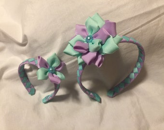 Mint Green and Lt. Lavender Woven Headband with Matching 18 Inch Doll Mint Green and Lt. Lavendar Woven Headband