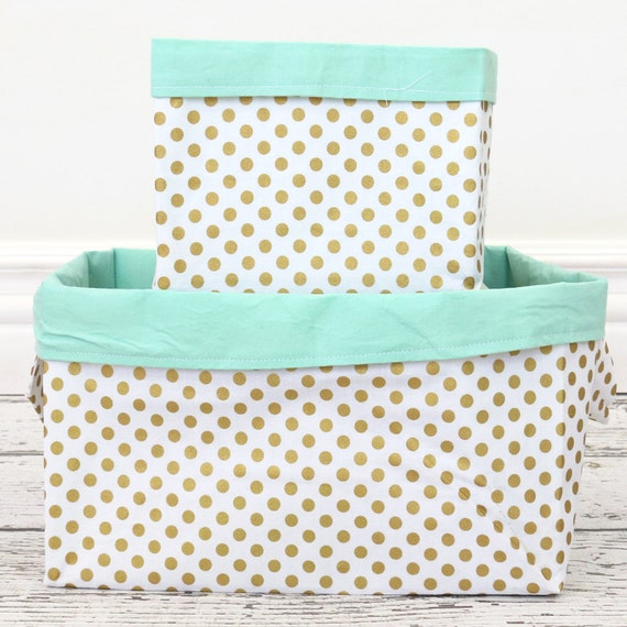 Gold Dot And Mint Fabric Storage Bins Large Bin Small Bin
