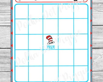Dr. Seuss Baby Shower Bingo Baby Shower Game - Instant Digital Download