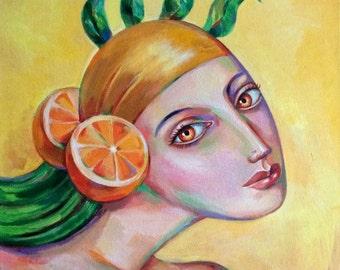 "ORIGINAL painting ""Orange princess"" acrylic on canvas, women head, abstract portrait"