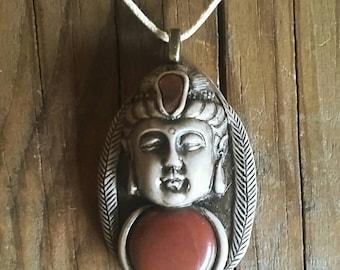 Red Jasper Zen Buddha Pendant