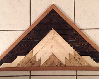 Geometric Rustic Wood Mountain Art