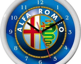 Alfa Romeo Wall Clock Garage Work Shop Gift Father's Day Man Cave Rec Room