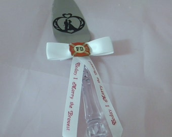Wedding Reception Party Fireman Cake Knife Server Ribbon with Message