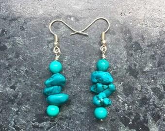 Turquoise Earrings Womens Earrings Gemstone Earrings Beaded Earrings Womens Jewellery Womens Accessories Gift For Her Handmade Earrings